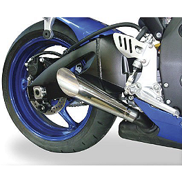 Hotbodies Racing Megaphone Slash Cut Slip-On Exhaust - Stainless Steel - 2008 Suzuki GSX-R 600 M4 GP Series Slip-On Exhaust - Black