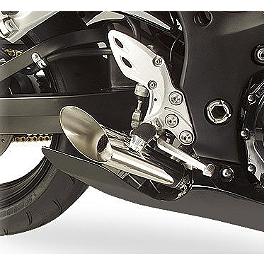 Hotbodies Racing GP Style Slash Cut Dual Slip-On Megaphone Exhaust - Stainless Steel - 2011 Suzuki GSX1300R - Hayabusa M4 Retro Drag Dual Slip-On Exhaust