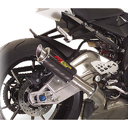 Hotbodies Racing MGP Growler Slip-On Exhaust - Carbon - 2010 BMW S1000RR Pit Bull Hybrid Converter With Pin