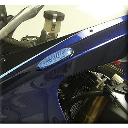 Hotbodies Racing Turn Signal/Mirror Block-Off Blue - 2006 Suzuki GSX-R 750 Rumble Concept Backdraft LED Turn Signals - Pearl Splash White