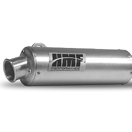 HMF Utility Slip-On Exhaust - Polished - 2002 Suzuki EIGER 400 2X4 AUTO Moose Dynojet Jet Kit - Stage 1