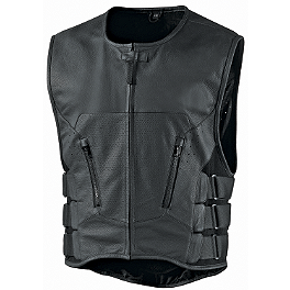 Icon Regulator Stripped Vest - Speed & Strength Hard Knock Life Leather Vest