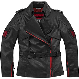 Icon Women's 1000 Federal Jacket - River Road Women's Biker Girl Skull Graphix Leather Jacket