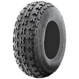 ITP Holeshot ATV Front Tire - 21x7-10 - 2003 Kawasaki KFX50 ITP Sandstar Rear Paddle Tire - 22x11-10 - Left Rear