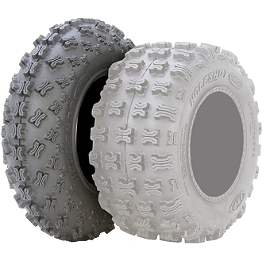 ITP Holeshot GNCC ATV Front Tire - 21x7-10 - 2005 Kawasaki KFX80 ITP Sandstar Rear Paddle Tire - 18x9.5-8 - Right Rear
