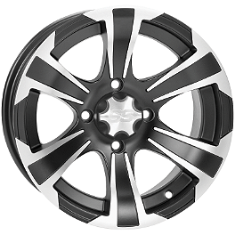 ITP SS312 Front Wheel- 12X7 Machined Black - 2010 Honda RANCHER 420 4X4 POWER STEERING Moose 393X Front Wheel - 12X7 4B+3N Black