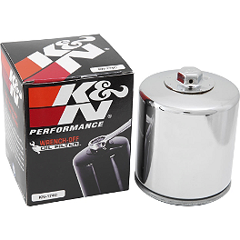 K&N Spin-on Oil Filter - Chrome - BikeMaster Oil Filter - Chrome
