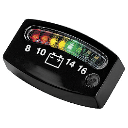 Kuryakyn LED Battery Gauge - Black - Kuryakyn AirMaster Aerodynamic Windshield - Clear