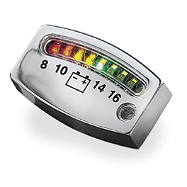Kuryakyn LED Battery Gauge - Chrome - Kuryakyn Lighted Curved Vertical Side Mount License Plate Holder With Tail Light