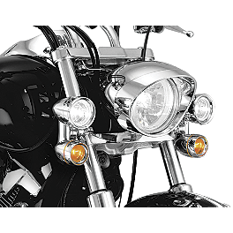 Kuryakyn Constellation Driving Lights With Turn Signals Without Fork Mount - Kuryakyn ISO Maltese Cross End Caps - Pair