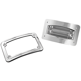 Kuryakyn Curved Laydown License Plate Mount With Frame - Kuryakyn Emblems For Grips With Throttle Boss - Zombie