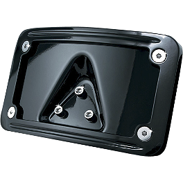 Kuryakyn Curved Laydown License Plate Mount With Frame - Black - Kuryakyn Front Drive Pulley Cover