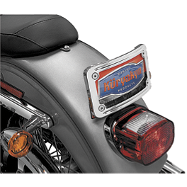 Kuryakyn Curved Tip-Back License Plate Frame - Vance & Hines 2-Into-1 Exhaust