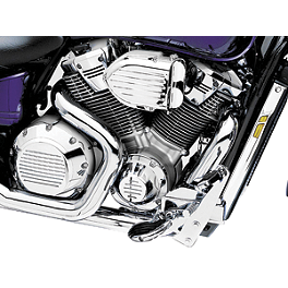 Kuryakyn Engine Cover Inserts - 2011 Honda Fury 1300 ABS - VT1300CXA Vance & Hines Twin Slash PowerChamber Equipped Slip-On Exhaust - Chrome
