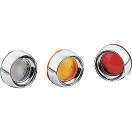 Kuryakyn Deep Dish Bezels With Lenses For Bullet Turn Signals - 1986 Yamaha Virago 1100 - XV1100 Kuryakyn Footpeg Adapters - Front