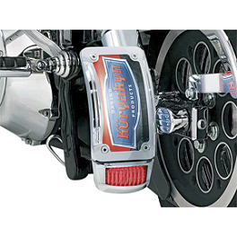 Kuryakyn Lighted Curved Vertical Side Mount License Plate Holder With Tail Light - 2009 Kawasaki Vulcan 2000 Classic - VN2000H Kuryakyn Deep Dish Bezels With Lenses & Bulbs For Stock Turn Signals