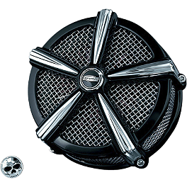 Kuryakyn Mach 2 Universal Air Cleaner Kit - Black & Chrome - 2002 Yamaha V Star 1100 Custom - XVS1100 Kuryakyn Footpeg Adapters - Front