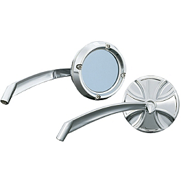 Kuryakyn Glass Mirrors - Maltese Cross - Joker Machine Viewtech 4 Oval Mirror - Flamed