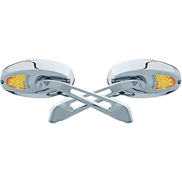 Kuryakyn Turn Signal Glass Mirrors - Convex - Arlen Ness Flamed Mirror Die-Cast Stem - Left