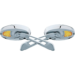 Kuryakyn Turn Signal Glass Mirrors - Flat - Kuryakyn Iron Cross LED Light Mount