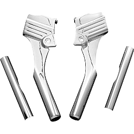 Kuryakyn Deluxe Neck Covers - Grooved - Yamaha Star Accessories Quick Release Short Chrome Touring Windshield - 17