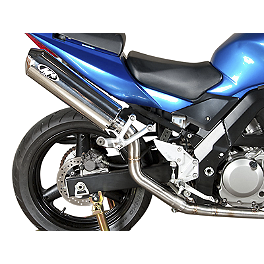 M4 Standard Slip-On Exhaust - Polished High Sport Mount - 2003 Suzuki SV650S M4 Standard Full System Exhaust - Carbon Race Mount