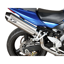 M4 Standard Slip-On Exhaust - Titanium High Sport Mount - 2008 Suzuki SV650SF ABS Leo Vince SBK Oval Evo II Slip-On - Carbon Fiber