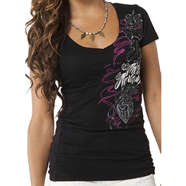 Metal Mulisha Women's Danig Locked Away V-Neck T-Shirt - Alpinestars Valley Flex Fit Hat