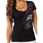 Metal Mulisha Women's Danig Locked Away V-Neck T-Shirt - Dirt Bike Womens Casual