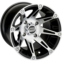Moose 387X Rear Wheel - 14X7 4B+3N Machined - 2014 Yamaha GRIZZLY 700 4X4 Moose 393X Front Wheel - 12X7 4B+3N Black