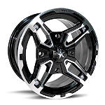 MotoSport Alloys Crusher Front Wheel - 14X7 Black - Four Clearance