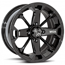 MotoSport Alloys Elixir Rear Wheel - 12X7 Black - 2013 Suzuki KING QUAD 750AXi 4X4 Motosport Alloys Kore Front Wheel - 14X7 Matte Black