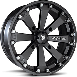 Motosport Alloys Kore Front Wheel - 14X7 Matte Black - 2005 Suzuki KING QUAD 700 4X4 MotoSport Alloys Elixir Rear Wheel - 12X7 Black