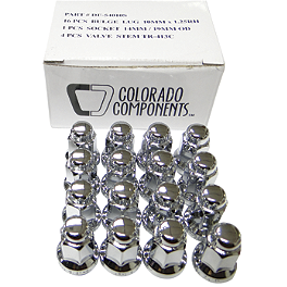 MotoSport Alloy 10mm X 1.25 Lug Nut Kit - 2008 Kawasaki KFX90 ITP Lug Nut Set - 10X1.25mm Thread 14mm Flat Head Chrome