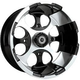 Motosport Alloys Patriot Front Wheel - 12X7 Black - 2005 Suzuki KING QUAD 700 4X4 MotoSport Alloys Elixir Rear Wheel - 12X7 Black