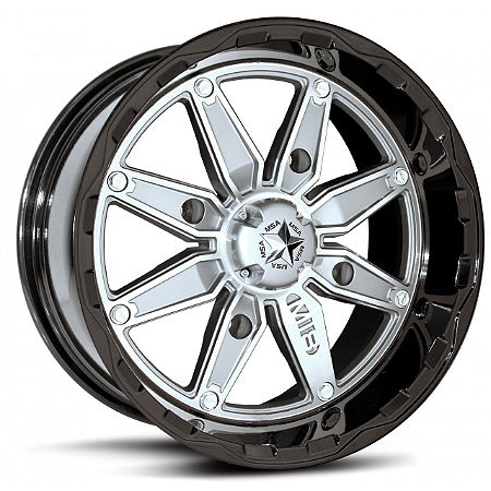 MotoSport Alloys M18 Pilot Front Wheel - 14X7 Black/Silver - Main