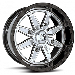 MotoSport Alloys M18 Pilot Rear Wheel - 14X7 Black/Silver - 2010 Kawasaki BRUTE FORCE 650 4X4i (IRS) MotoSport Alloys Elixir Front Wheel - 14X7 Bronze