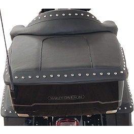 Mustang King TourPak Lid Cover - Mustang Recessed Rear Seat with Receiver - Black Studded