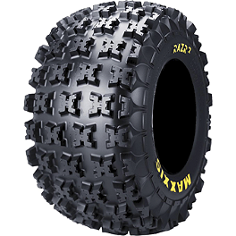 Maxxis RAZR2 Rear Tire - 22x11-10 - 2008 Honda TRX450R (ELECTRIC START) Maxxis RAZR Blade Sand Paddle Tire - 18x9.5-8 - Left Rear