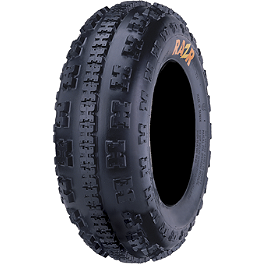 Maxxis RAZR 6 Ply Front Tire - 22x7-10 - 2012 Honda TRX450R (ELECTRIC START) Maxxis RAZR Blade Sand Paddle Tire - 18x9.5-8 - Right Rear