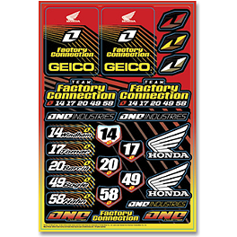 2013 One Industries Geico Powersports Decal Sheet - Honda - 2013 One Industries Honda CR Decal Sheet