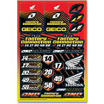 2013 One Industries Geico Powersports Decal Sheet - Honda -  ATV Body Parts and Accessories
