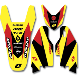 2013 One Industries Delta Graphic Trim Kit - Suzuki - 2012 One Industries Fork Guard Decals - Suzuki