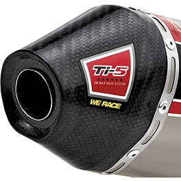 Pro Circuit Ti-5 Carbon End Cap - Pro Circuit Ti-4 Slip-On Exhaust - Dual With Mid Section
