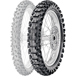 Pirelli Scorpion MX Extra J Rear Tire - 90/100-14 - 1986 Suzuki RM80 Cheng Shin Rear Paddle Tire - 90/100-14 - 6 Paddle