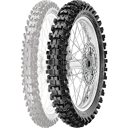 Pirelli Scorpion MX Mid Soft 32 Rear Tire - 90/100-14 - 1980 Kawasaki KX80 Cheng Shin Rear Paddle Tire - 90/100-14 - 6 Paddle