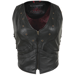 Pokerun Women's Vixen Leather Vest - Joe Rocket Women's Street Vest