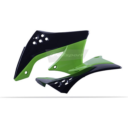 Polisport Radiator Shrouds - Black-Green 2005
