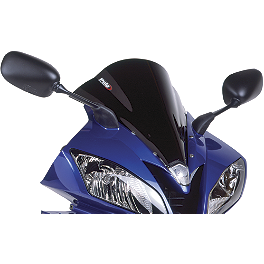 Puig Racing Windscreen - Black - 2006 Honda VFR800FI - Interceptor ABS Zero Gravity Double Bubble Windscreen