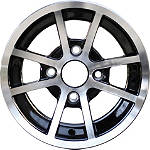 Rock A168 Aluminum Front Wheel - 14X7 Black/Silver 4+3 - ROCK-FOUR Rock Utility ATV